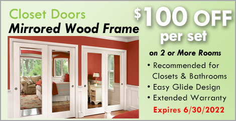 Mirrored Wood Frame Closet Doors